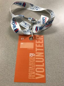 Picture of a volunteer pass from the Frozen River Film Festival