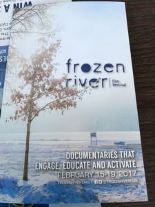 The program cover for the Frozen River Film Festival in Winona, Minnesota