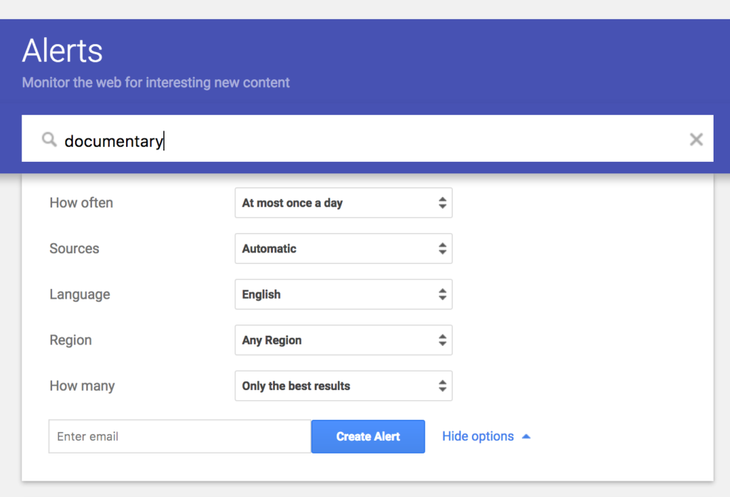 Setting up a Google Alert